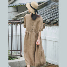 Load image into Gallery viewer, vintage khaki long linen dress plus size O neck baggy dresses linen clothing dress boutique Butterfly Sleeve dresses