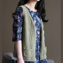 Load image into Gallery viewer, vintage light army green sweater trendy plus size knit sweat tops top quality v neck shirt sleeveless cardigan