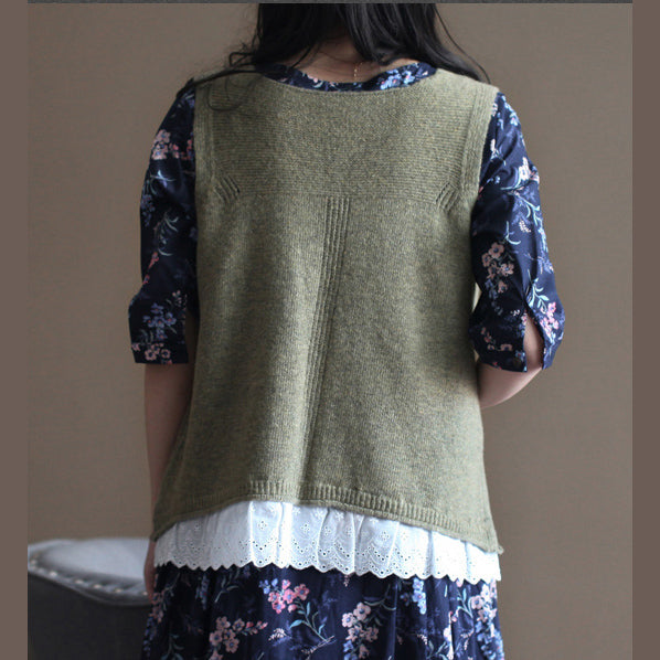 vintage light army green sweater trendy plus size knit sweat tops fine v neck shirt sleeveless cardigan