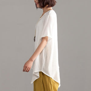 vintage linen blended summer top Loose fitting Irregular Hem Women Summer Short Sleeve Casual Loose Blouse