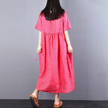 Load image into Gallery viewer, vintage linen caftans trendy plus size Loose Lacing Ramie Short Sleeve Red Pleated Dress