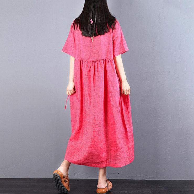 vintage linen caftans trendy plus size Loose Lacing Ramie Short Sleeve Red Pleated Dress