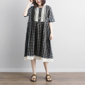 vintage linen cotton dress plus size Lacing Short Sleeve Plaid Pockets Retro Casual Gray Dress