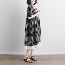 Load image into Gallery viewer, vintage linen cotton dress plus size Lacing Short Sleeve Plaid Pockets Retro Casual Gray Dress