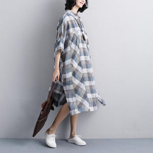 vintage linen dresses Loose fitting Polo Collar Short Sleeve Plaid Women Linen Shirt Dress