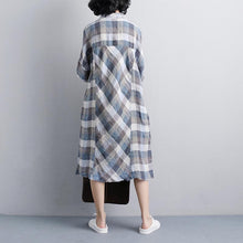 Load image into Gallery viewer, vintage linen dresses Loose fitting Polo Collar Short Sleeve Plaid Women Linen Shirt Dress