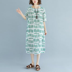 vintage linen sundress Loose fitting Short Sleeve Round Neck Pockets Summer Dress