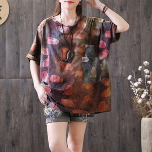 vintage linen tops plus size Applique Distressed Summer Women Round Neck T Shirt