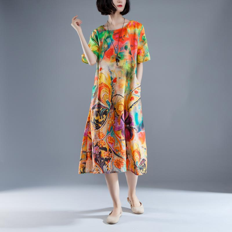 vintage long Ramie dresses oversize Short Sleeve Pockets Summer Printed Long Dress
