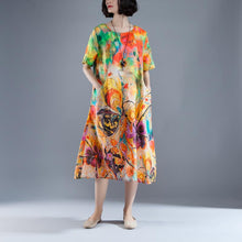 Load image into Gallery viewer, vintage long Ramie dresses oversize Short Sleeve Pockets Summer Printed Long Dress