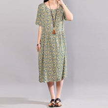 Load image into Gallery viewer, vintage long cotton dresses trendy plus size Floral Printed Dresses Round Neck Short Sleeve Dress