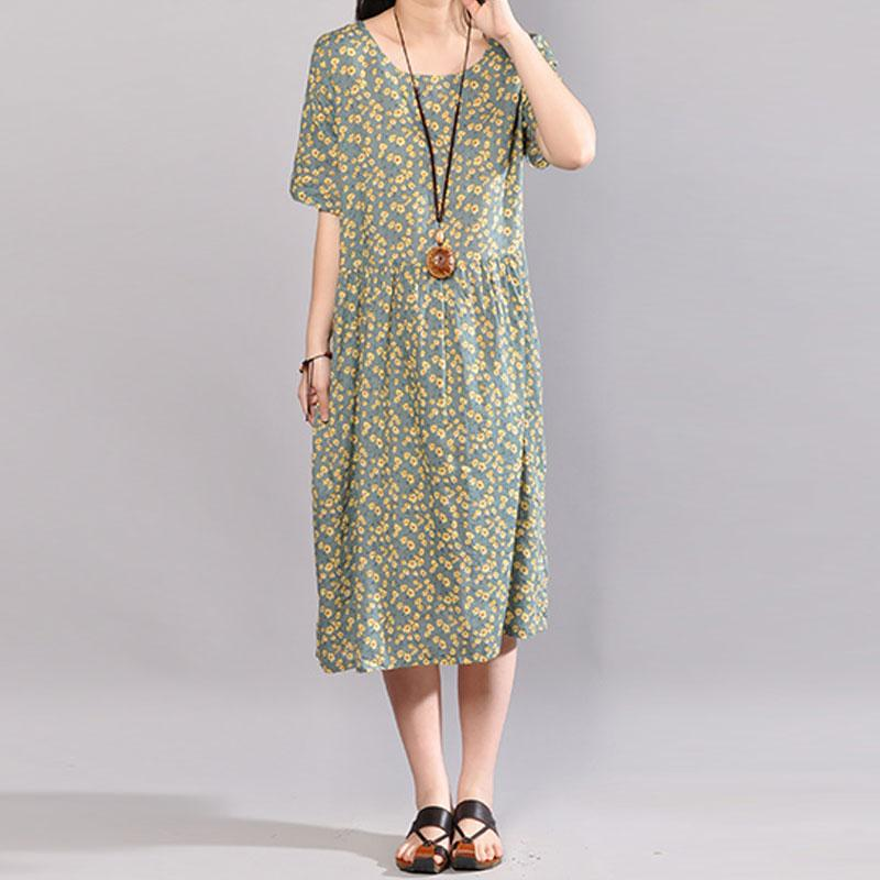 vintage long cotton dresses trendy plus size Floral Printed Dresses Round  Neck Short Sleeve Dress