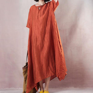 vintage orange linen maxi dress plus size clothing o neck tie waist linen maxi dress top quality short sleeve gown