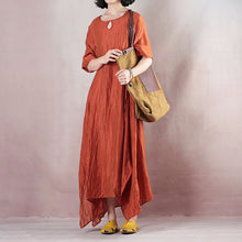 Load image into Gallery viewer, vintage orange linen maxi dress plus size clothing o neck tie waist linen maxi dress top quality short sleeve gown