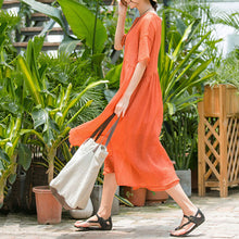 Load image into Gallery viewer, vintage orange long cotton blended dress plus size clothing v neck baggy two pieces cotton blended gown New short sleeve dresses