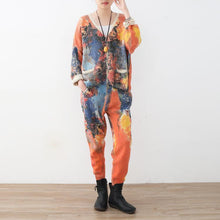 Load image into Gallery viewer, vintage orange prints sweater cardigans and elastic waist knit pants two pieces