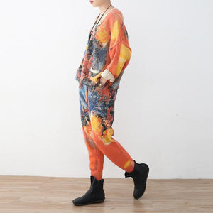 vintage orange prints sweater cardigans and elastic waist knit pants two pieces