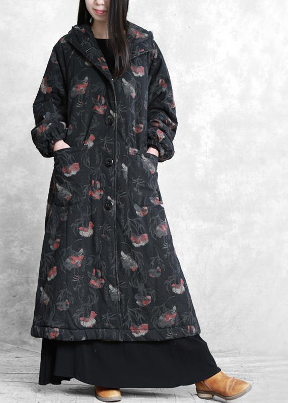 vintage oversize trench coat dark gray print hooded Button Down Woolen Coats