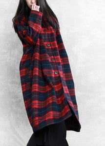 vintage plus size Winter coat woolen outwear red plaid Notched pockets wool overcoat