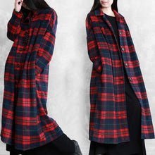 Load image into Gallery viewer, vintage plus size Winter coat woolen outwear red plaid Notched pockets wool overcoat