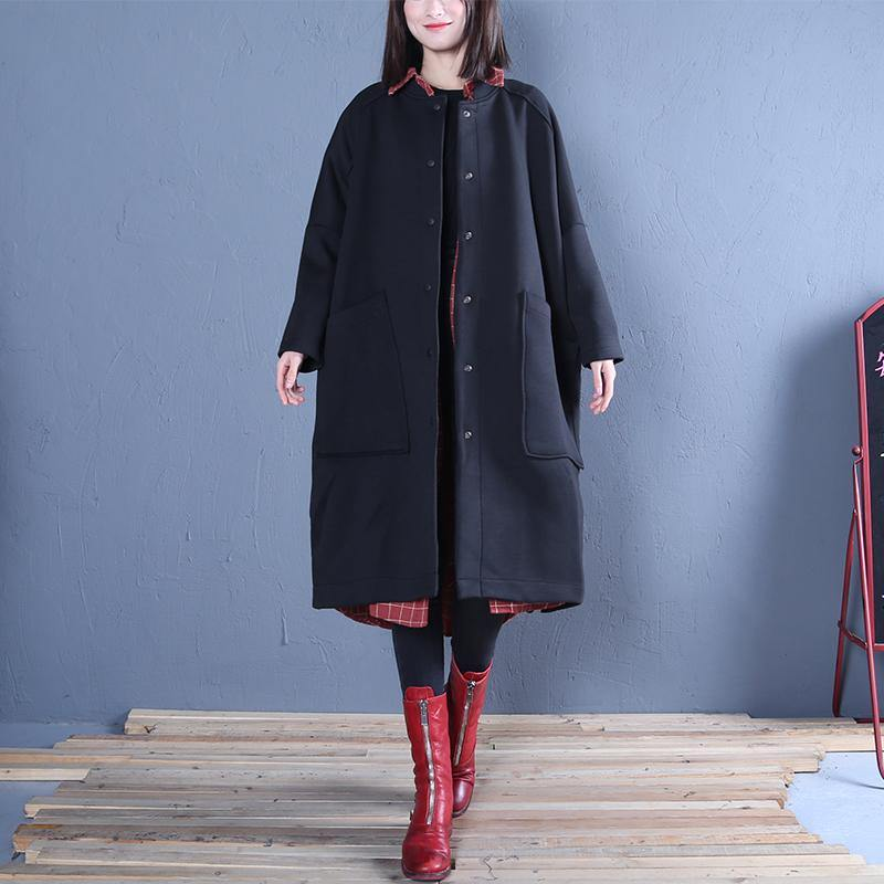 vintage plus size clothing black side open fall women coats