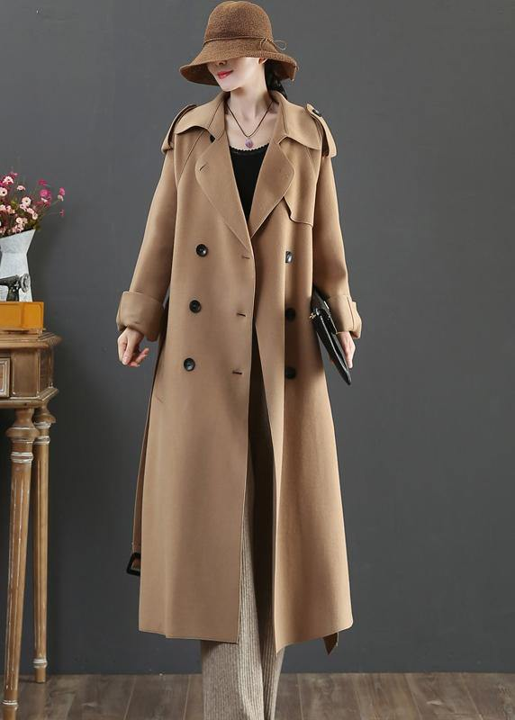 vintage plus size clothing long winter woolen outwear brown lapel double breast wool coat for woman