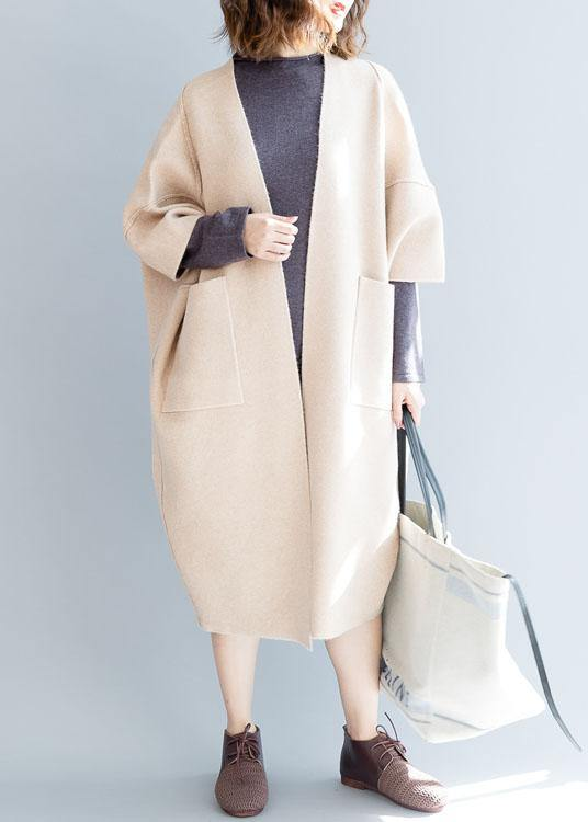 vintage plus size clothing maxi coat fall coats beige Batwing Sleeve woolen overcoat