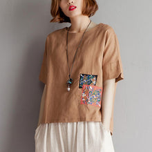 Load image into Gallery viewer, vintage pure cotton linen blouse plus size clothing Embroidery High-low Hem Summer Short Sleeve Brown Blouse