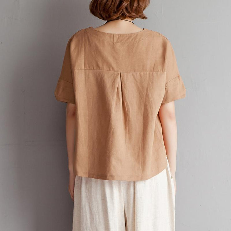 vintage pure cotton linen blouse plus size clothing Embroidery High-low Hem Summer Short Sleeve Brown Blouse