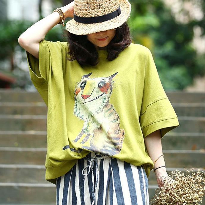 vintage pure cotton tops trendy plus size Animal Printing Loose Casual Summer Women Blouse