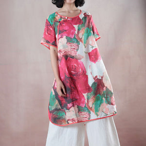 vintage red Midi-length linen t shirt Loose fitting shirts boutique half sleeve print O neck Chinese Button linen blouses