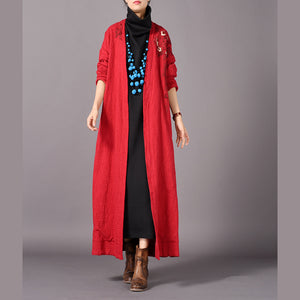 vintage red coats plus size embroidery baggy trench coat vintage side open coats