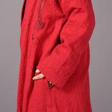 Load image into Gallery viewer, vintage red coats plus size embroidery baggy trench coat vintage side open coats