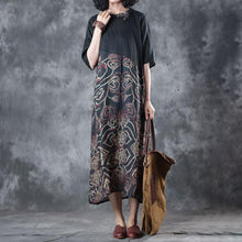 Load image into Gallery viewer, vintage silk linen maxi dress plus size clothing Retro Splicing Printed Round Neck Short Sleeve Black Dress