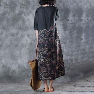 vintage silk linen maxi dress plus size clothing Retro Splicing Printed Round Neck Short Sleeve Black Dress