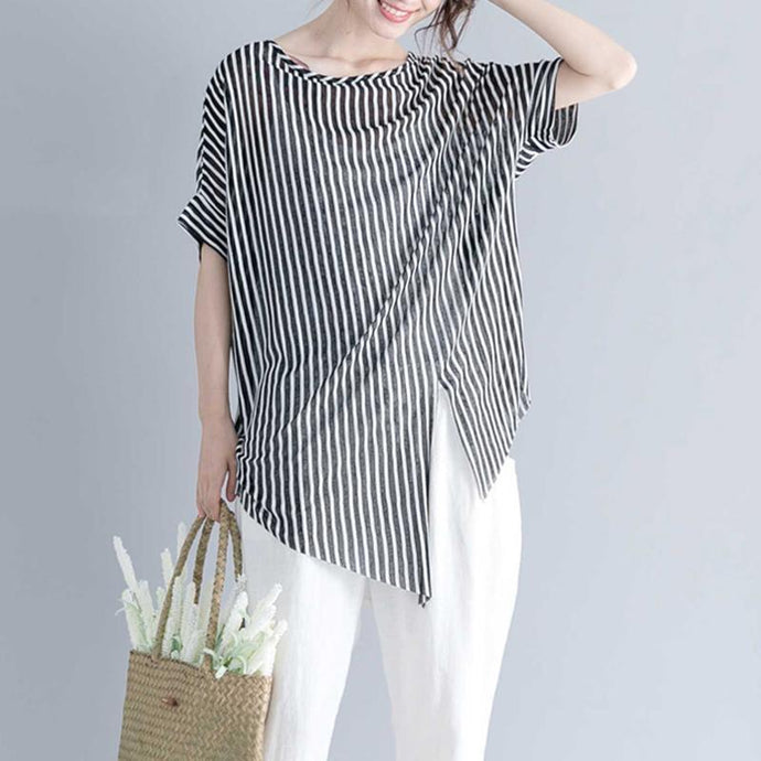 vintage striped Midi-length cotton t shirt Loose fitting traveling blouse top quality short sleeve o neck asymmetrical design cotton shirts