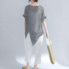 Load image into Gallery viewer, vintage striped Midi-length cotton t shirt Loose fitting traveling blouse top quality short sleeve o neck asymmetrical design cotton shirts