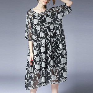 vintage summer dress Loose fitting Loose Summer Two Pieces 12 Sleeve Printed Dress
