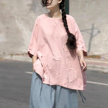 Load image into Gallery viewer, vintage summer t shirt plus size clothing Casual Pink Cotton Summer Women Mend Chic Shirt