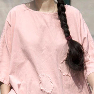 vintage summer t shirt plus size clothing Casual Pink Cotton Summer Women Mend Chic Shirt