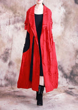 Load image into Gallery viewer, vintage trendy plus size long fall red turn-down collar tie waist coat