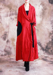 vintage trendy plus size long fall red turn-down collar tie waist coat
