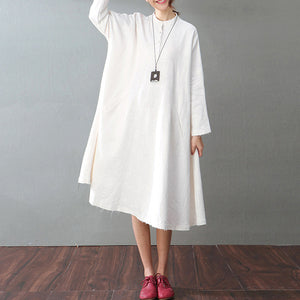 vintage white cotton linen caftans oversized Stand baggy dresses cotton linen clothing dress boutique long sleeve pockets maxi dresses