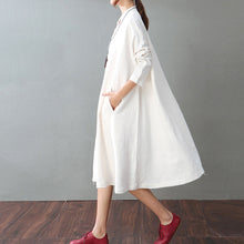 Load image into Gallery viewer, vintage white cotton linen caftans oversized Stand baggy dresses cotton linen clothing dress boutique long sleeve pockets maxi dresses