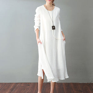 vintage white cotton linen maxi dress Loose fitting O neck baggy dresses New long sleeve patchwork dresses