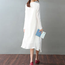 Load image into Gallery viewer, vintage white cotton linen maxi dress Loose fitting O neck baggy dresses New long sleeve patchwork dresses