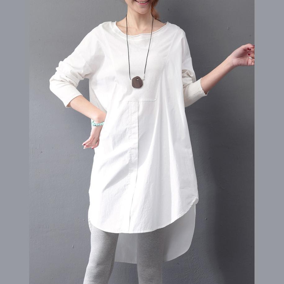 vintage white natural cotton dress plus size holiday dresses Fine long sleeve O neck patchwork cotton clothing dresses