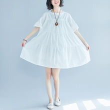 Load image into Gallery viewer, vintage white plus size casual dress casual trumpet sleeves a line skirts o neck cotton dress