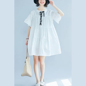 vintage white plus size casual dress casual trumpet sleeves a line skirts o neck cotton dress