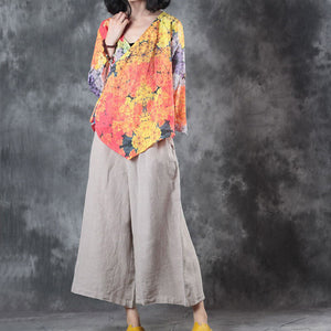 vintage yellow print linen tops oversize linen cotton t shirt Elegant half sleeve v neck tie waist linen cotton tops